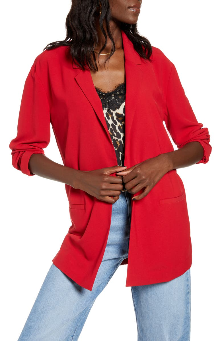 LEITH Boyfriend Blazer, Main, color, RED CHILI