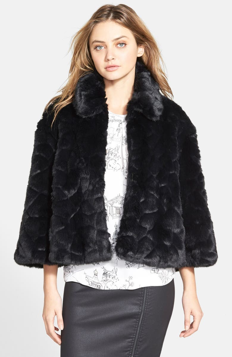 FRENCH CONNECTION 'Polar Teddy' Faux Fur Jacket, Main, color, 001