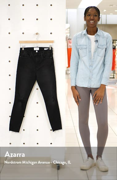 Le High Ripped Raw Hem Crop Skinny Jeans, sales video thumbnail