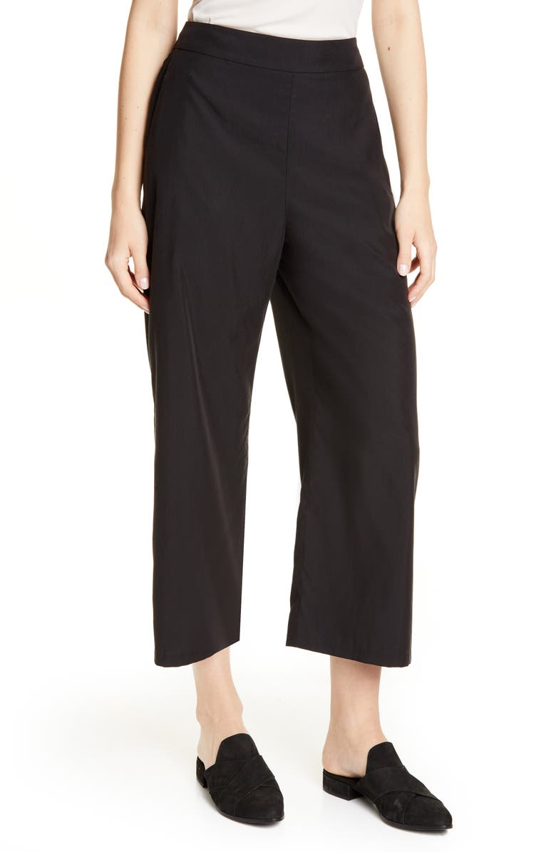 EILEEN FISHER Wide Leg Ankle Pants, Main, color, BLACK