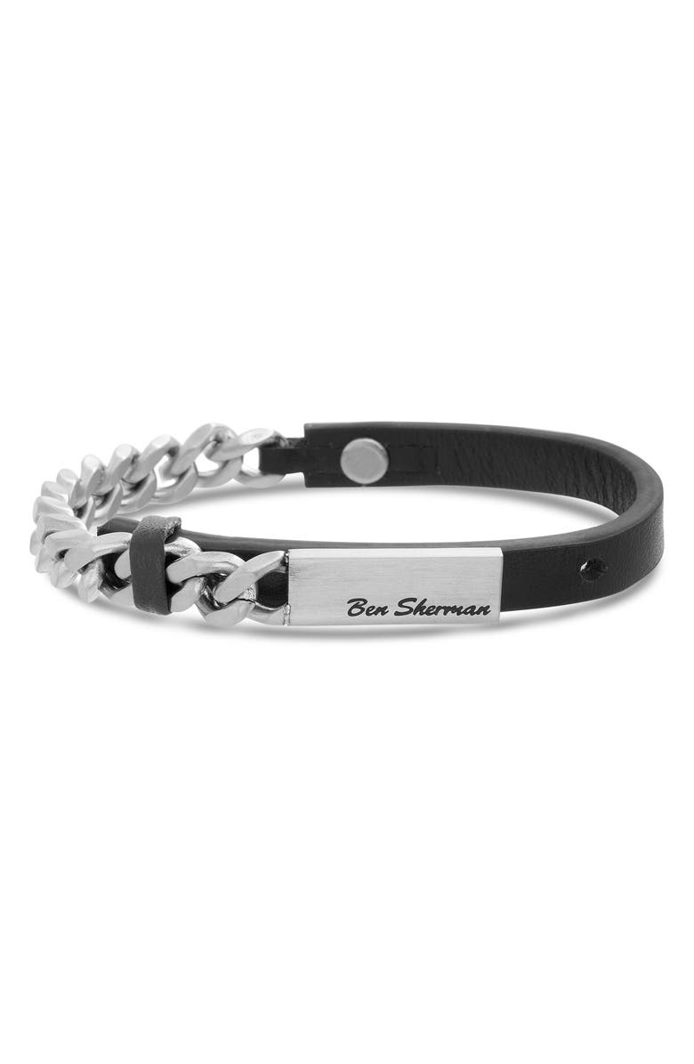 BEN SHERMAN Leather & Chain Bracelet, Main, color, 001