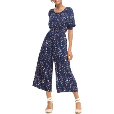 Gal Meets Glam Collection Violet Floral Print Jumpsuit, Blue