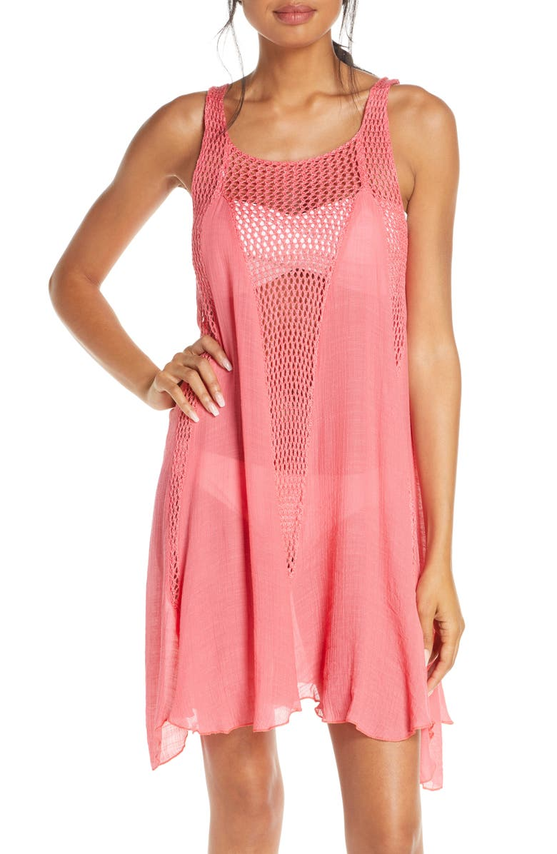 ELAN Crochet Inset Cover-Up Dress, Main, color, PINK