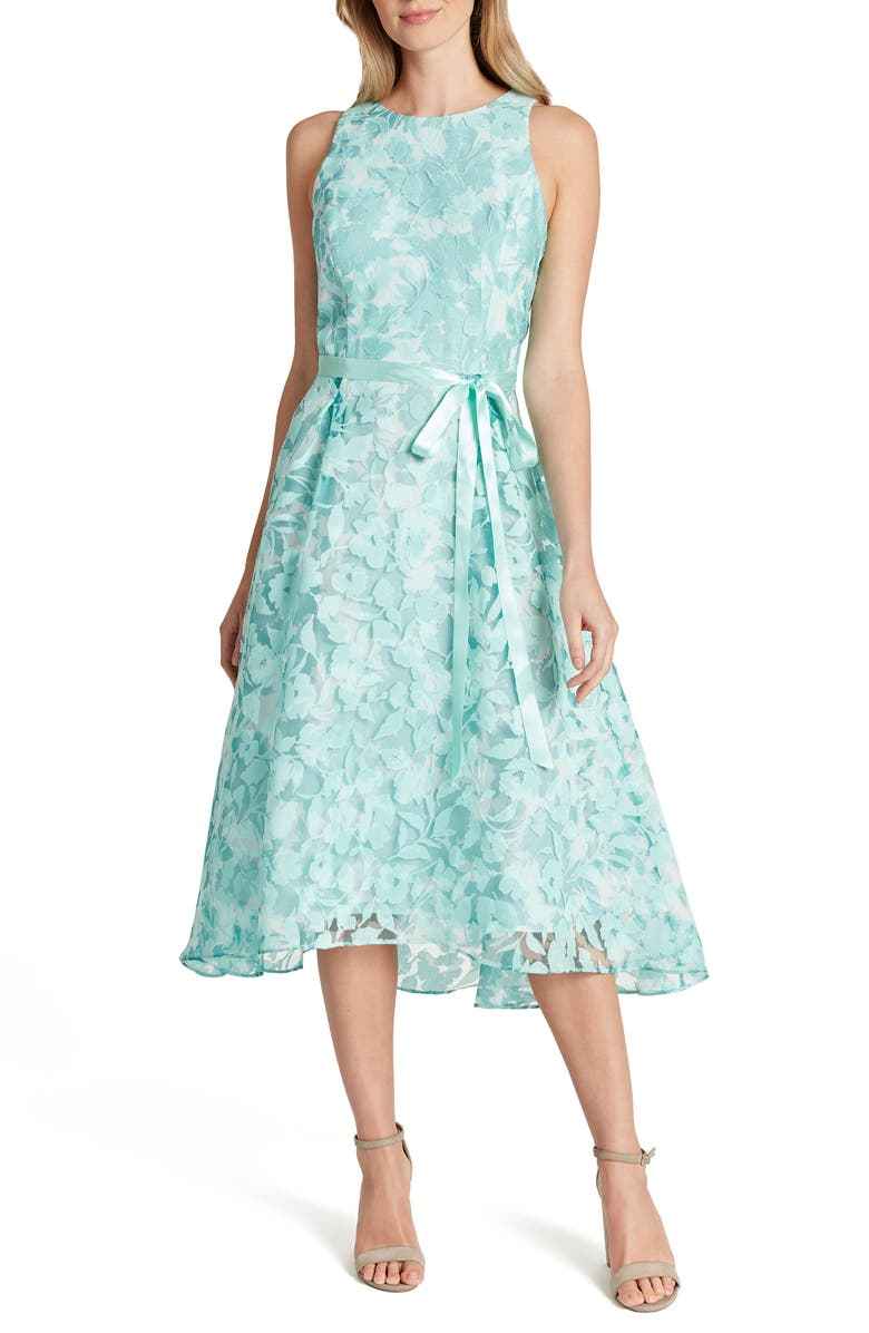 TAHARI Floral Burnout Chiffon Midi Dress, Main, color, MINT IVORY