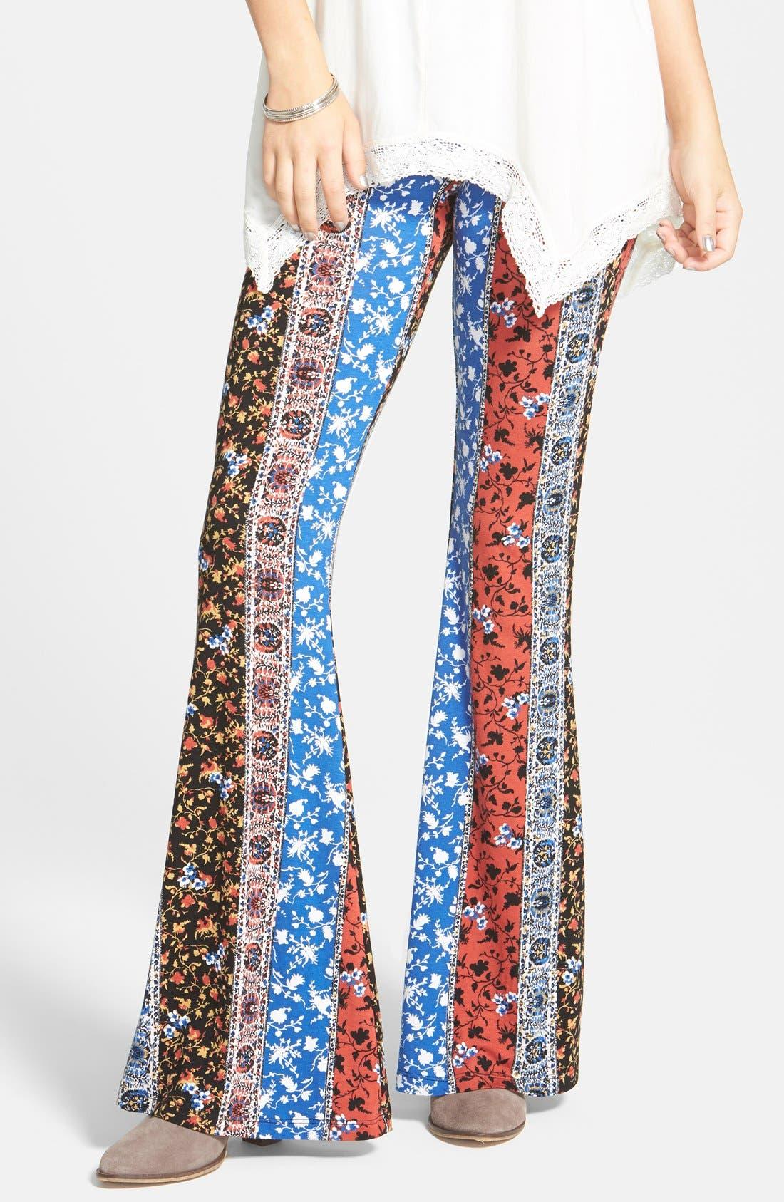 ,                             Mixed Print Flare Leg Pants,                             Main thumbnail 1, color,                             001