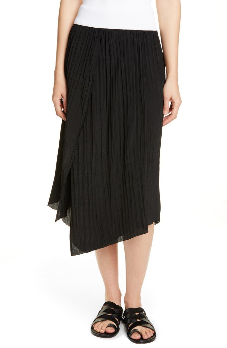 VINCE Crinkle Pleated Asymmetrical Skirt, Main, color, BLACK