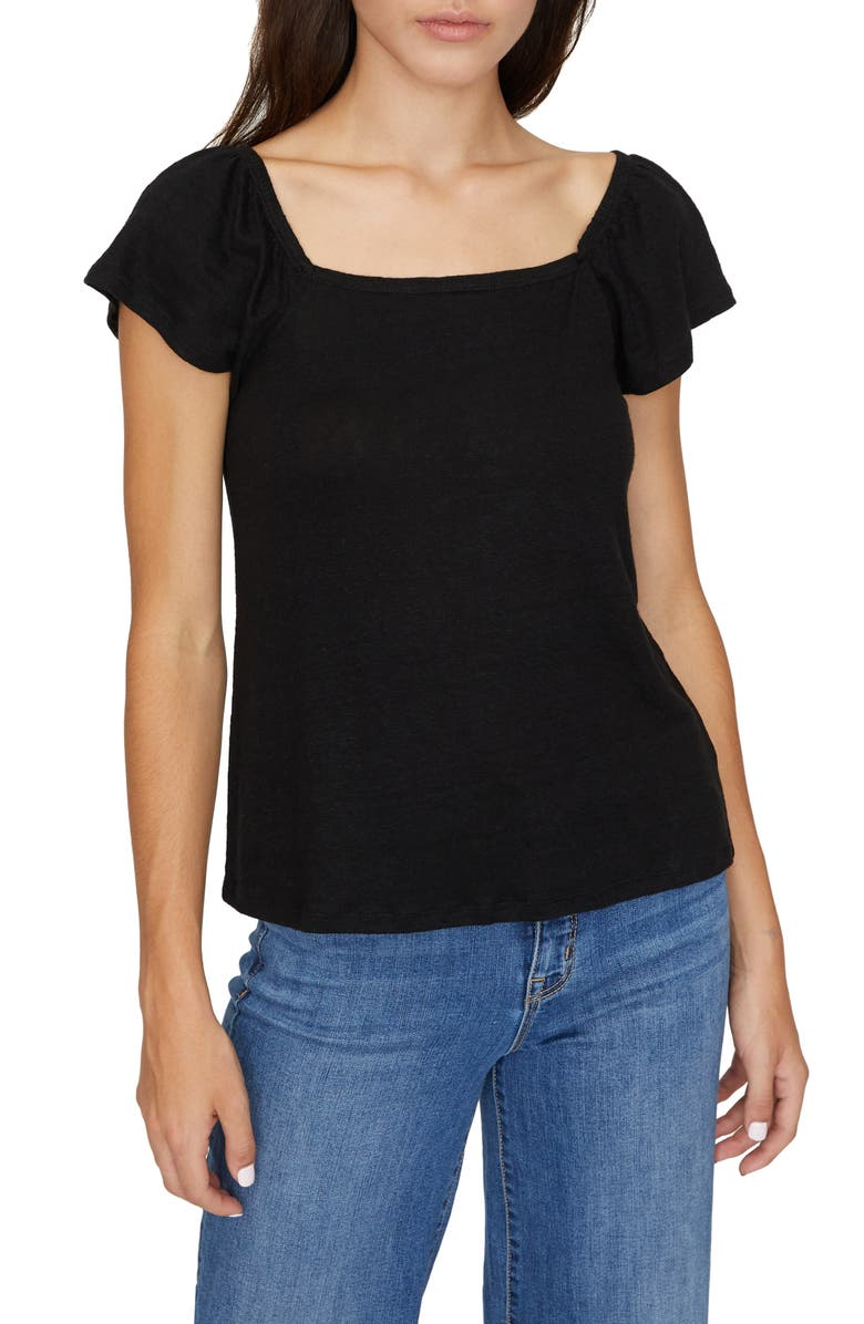 SANCTUARY Ali Square Neck T-Shirt, Main, color, BLACK
