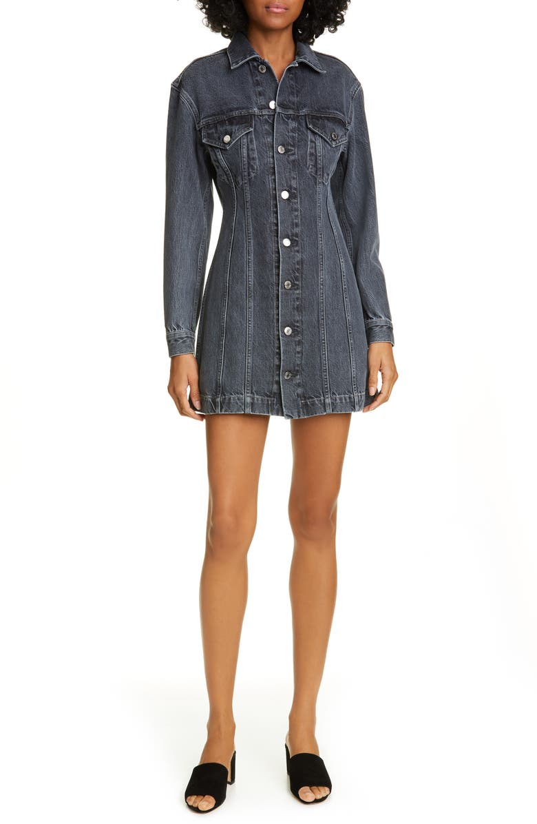 HELMUT LANG Long Sleeve Denim Minidress, Main, color, ACC MIDNIGHT STONE UNIVERSE