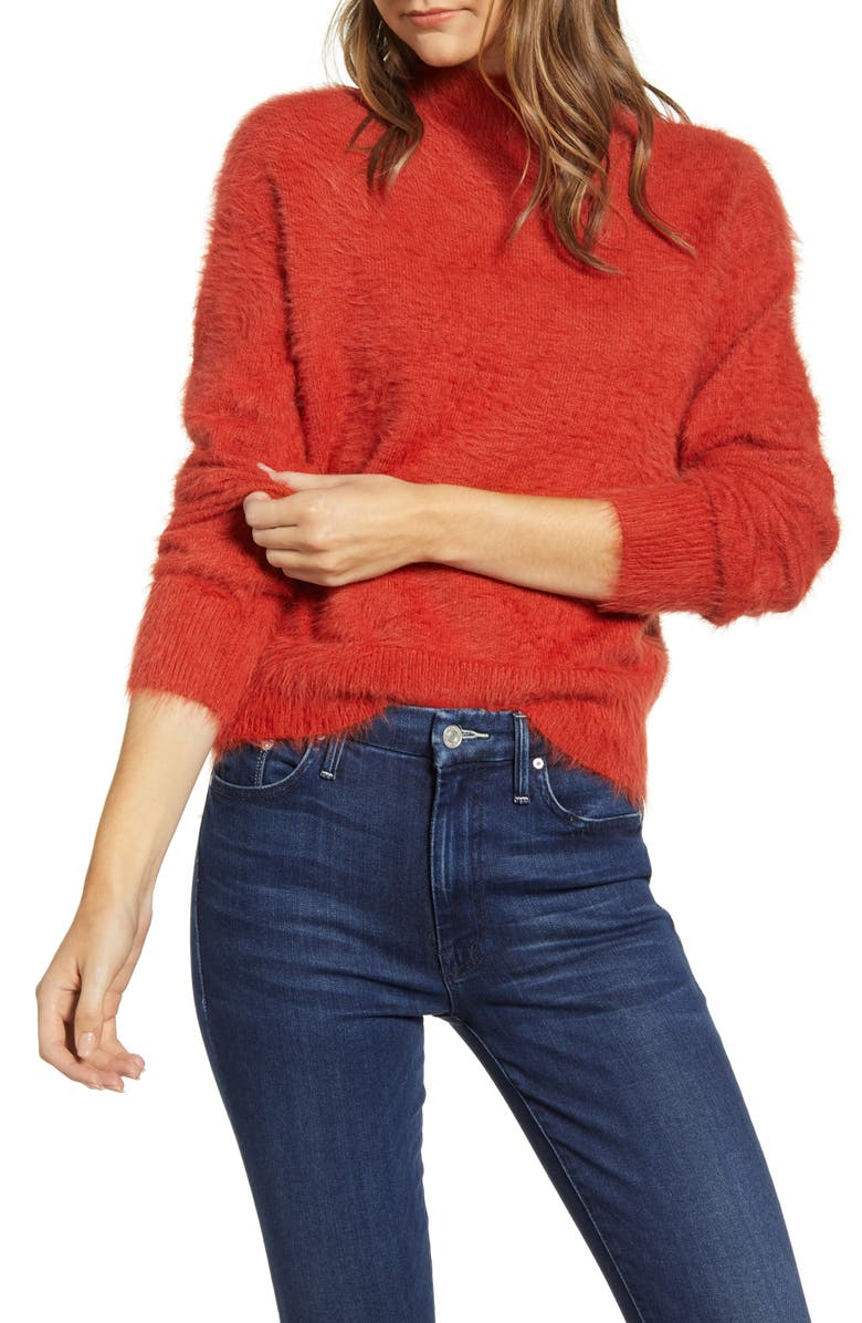 LOU & GREY Mock Neck Eyelash Chenille Sweater, Main, color, BLOOD ORANGE