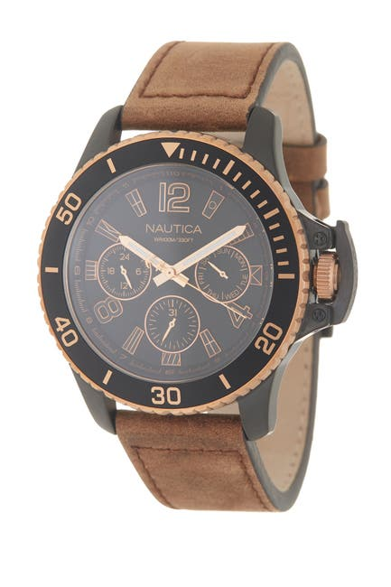 Image of Nautica Men's Bayside Leather Strap Watch, 45mm