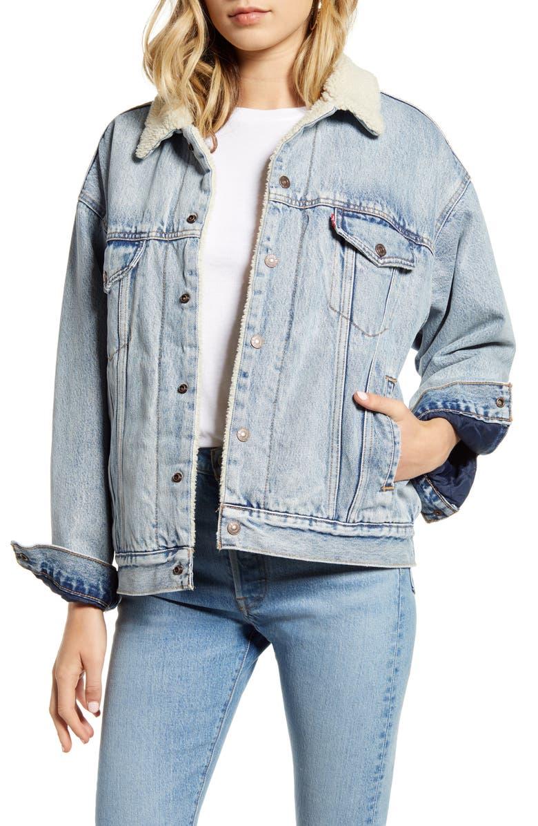 LEVI'S<SUP>®</SUP> Faux Shearling Trim Oversize Denim Trucker Jacket, Main, color, WARM DADDY MAC