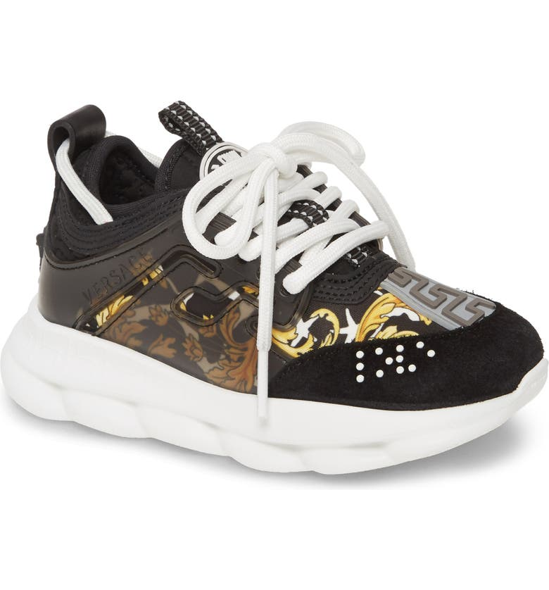 VERSACE Chain Reaction Sneaker, Main, color, BLACK/ GOLD/ WHITE