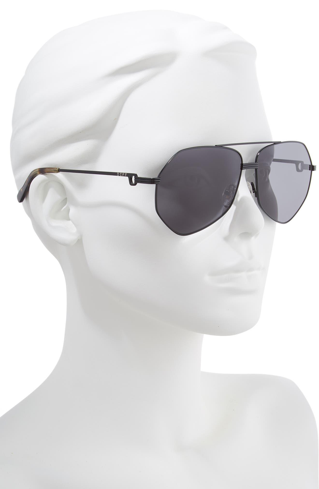 ,                             Sydney 62mm Polarized Aviator Sunglasses,                             Alternate thumbnail 2, color,                             BLACK/ MOSS HAVANA/ GREY