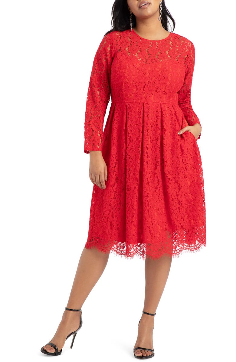 ELOQUII Lace Long Sleeve Fit & Flare Cotton Blend Dress, Main, color, TANGO RED