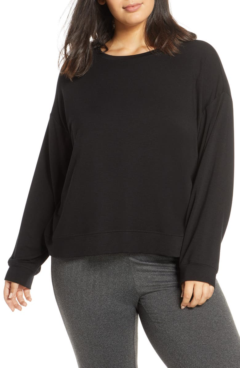 EILEEN FISHER Tencel<sup>®</sup> Blend Pullover, Main, color, BLACK