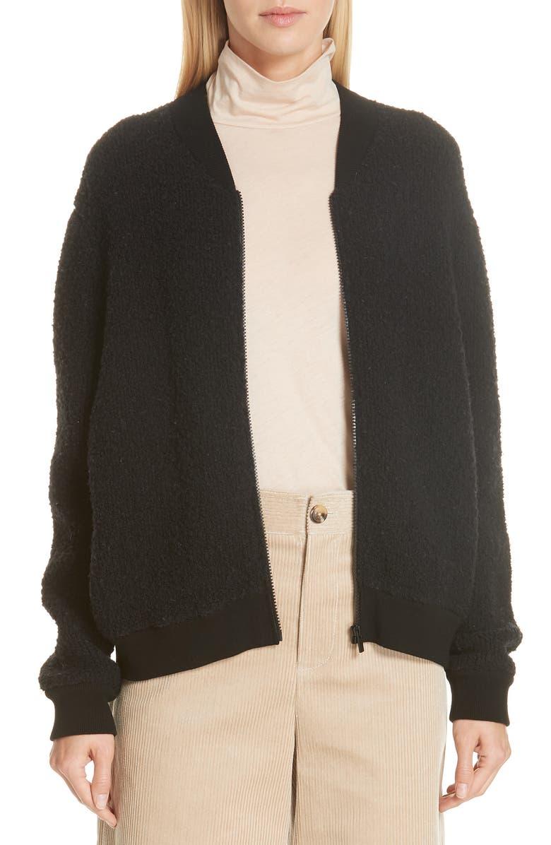 VINCE Bouclé Knit Bomber Jacket, Main, color, 001