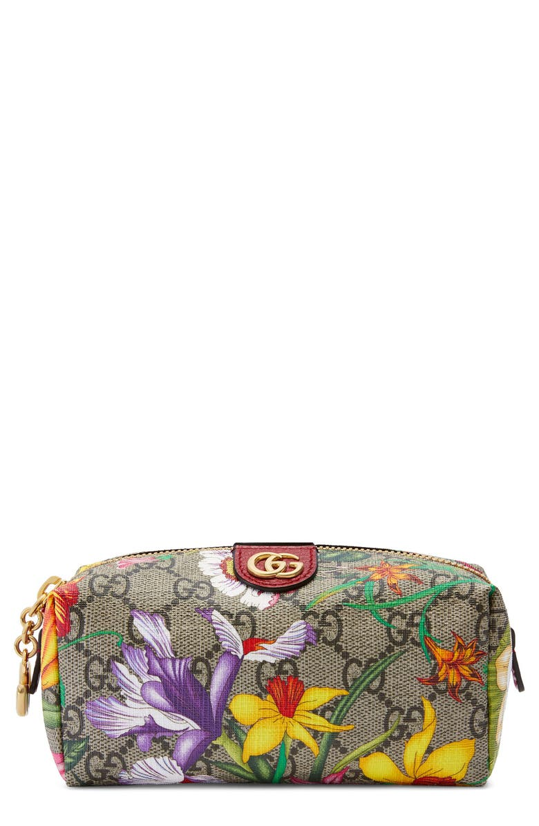 GUCCI Small Ophidia Floral GG Supreme Canvas Cosmetics Case, Main, color, BEIGE EBONY MULTI/ ROSSO