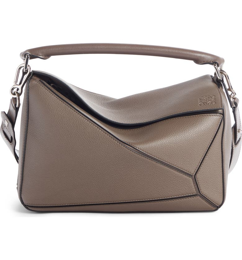 LOEWE Medium Puzzle Leather Shoulder Bag, Main, color, DARK TAUPE