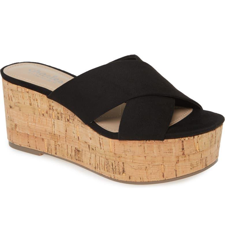 CHARLES BY CHARLES DAVID Civil Platform Wedge Slide Sandal, Main, color, BLACK FABRIC