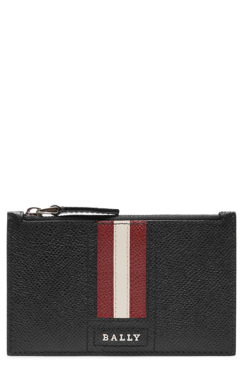 BALLY Tenley Leather Zip Wallet, Main, color, BLACK