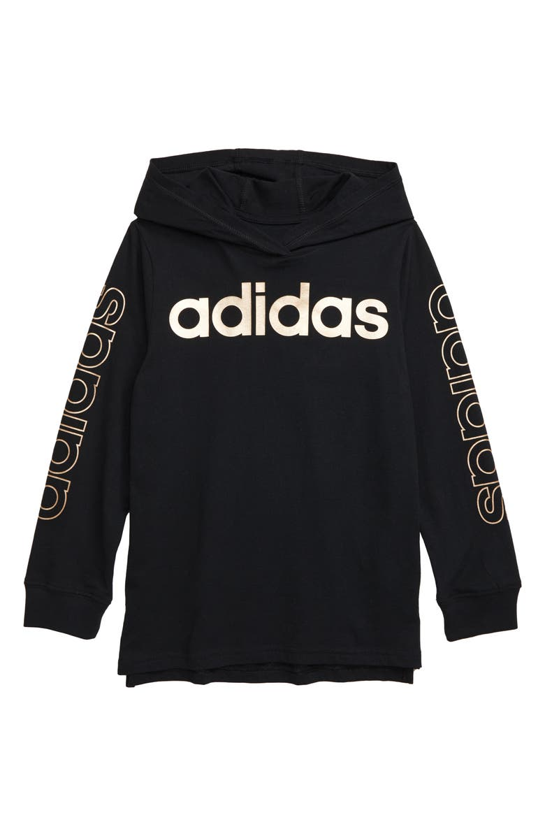 ADIDAS Graphic Hooded T-Shirt, Main, color, BLACK