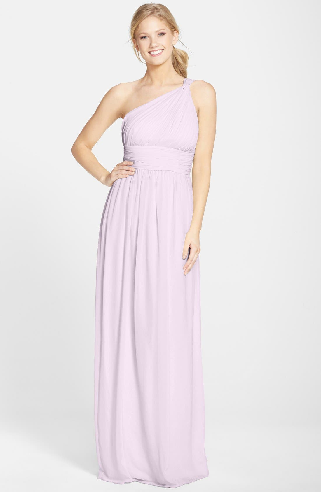 ,                             'Rachel' Ruched One-Shoulder Chiffon Gown,                             Main thumbnail 115, color,                             685