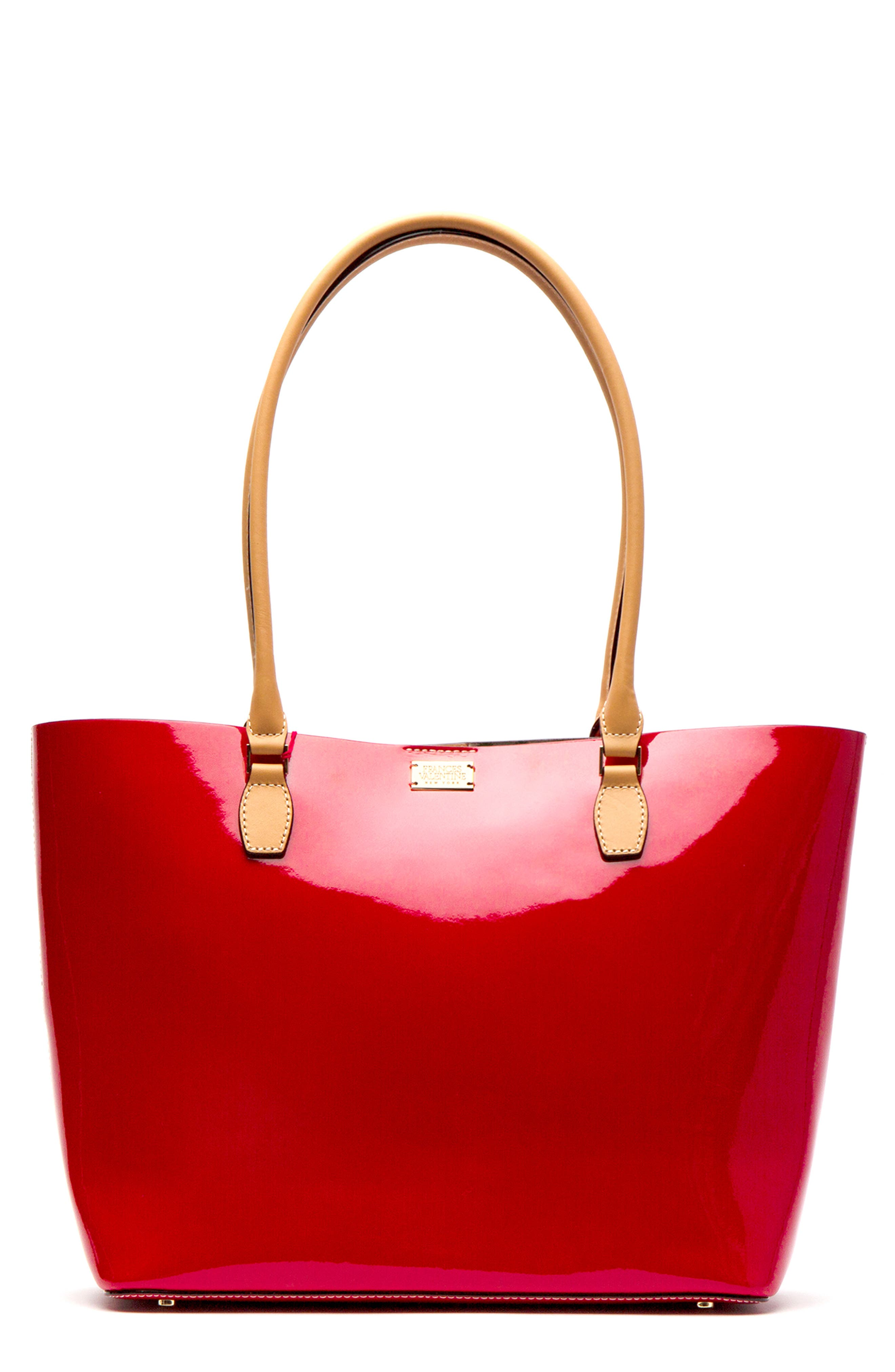Frances Valentine Medium Trixie Patent Leather Tote - Red