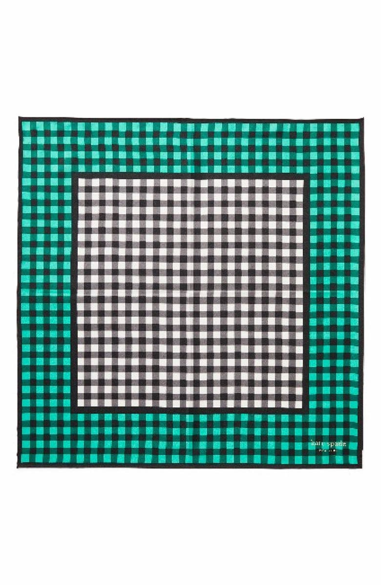 KATE SPADE NEW YORK garden gingham bandana, Main, color, GUMDROP GREEN