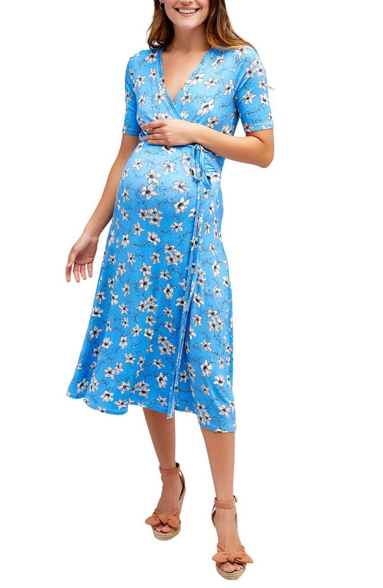 NOM MATERNITY Maya Maternity/Nursing Wrap Dress, Main, color, BLUE FLORAL