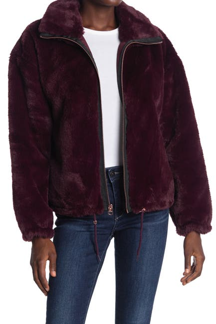 Image of Lucky Brand Funnel Neck Faux Fur Jacket