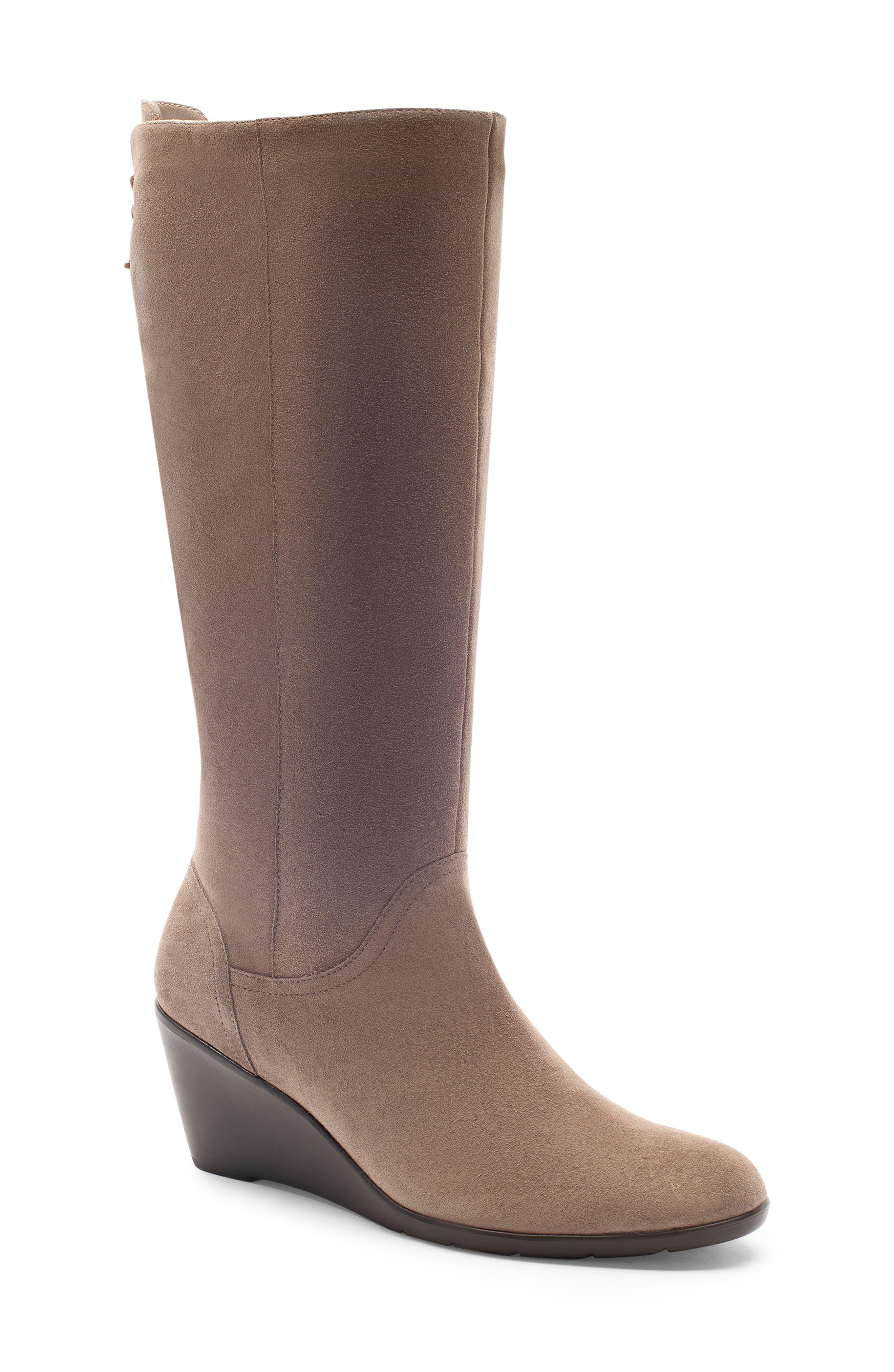 Blondo Larissa Waterproof Wedge Knee High Boot- Grey