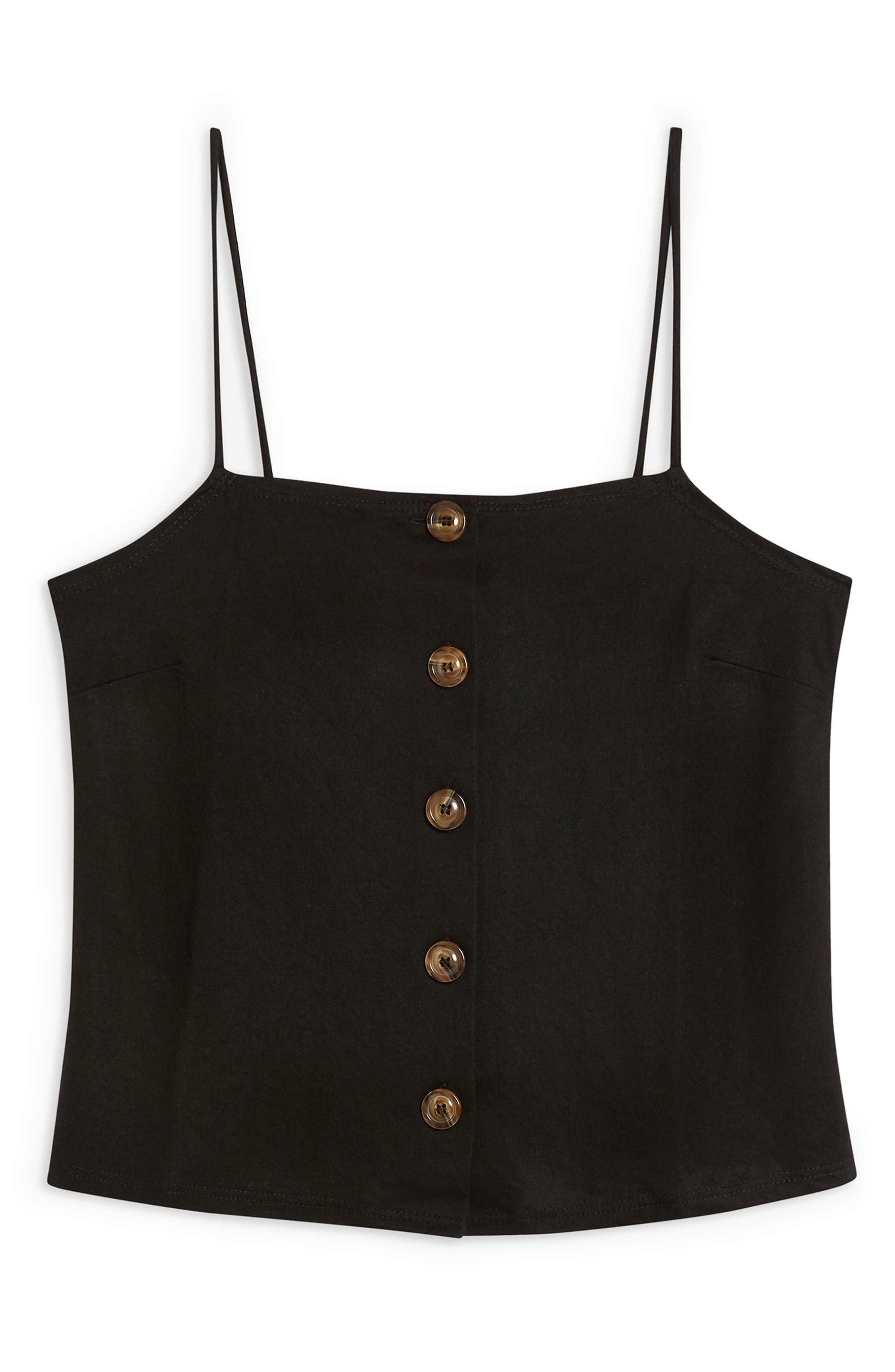 ,                             Bow Back Button Camisole,                             Alternate thumbnail 3, color,                             BLACK