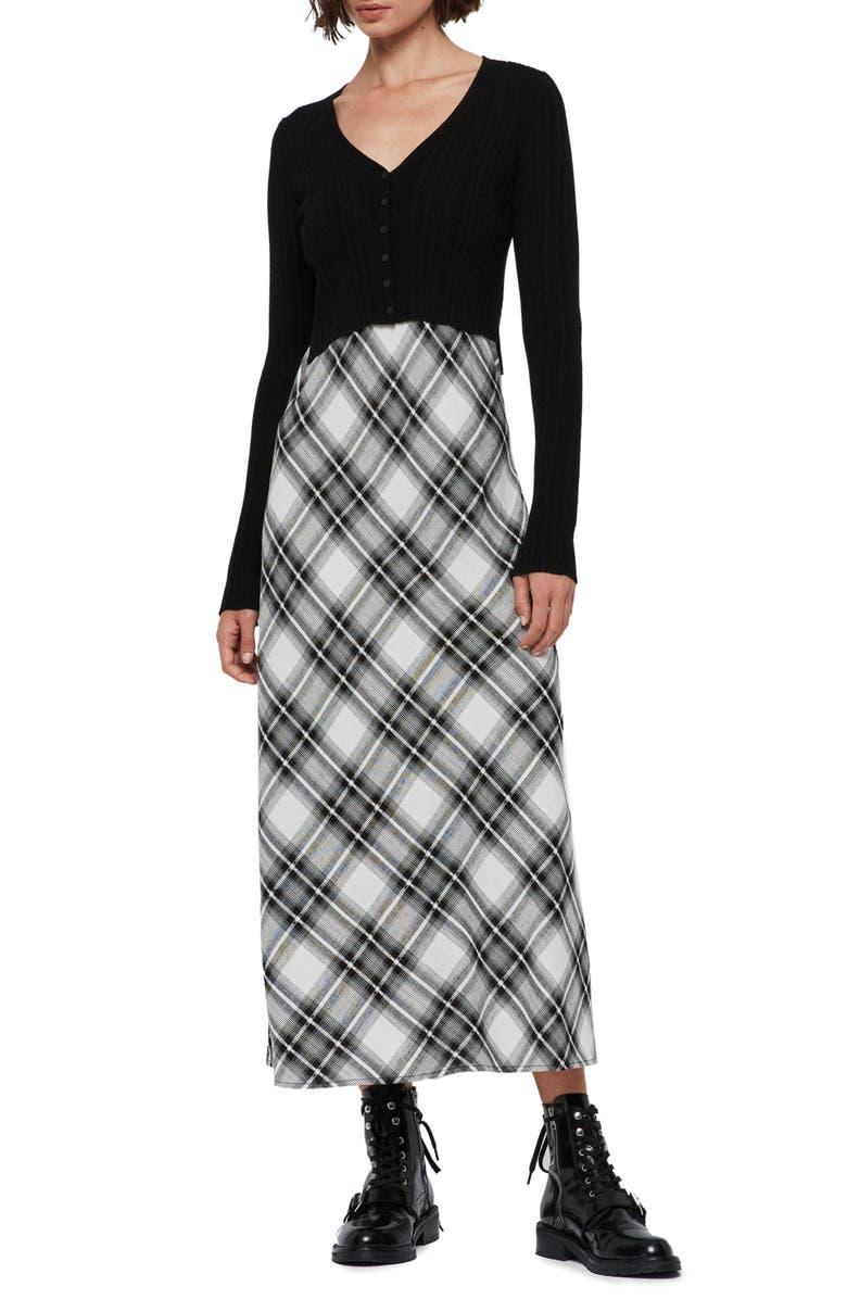 ALLSAINTS Nina Slipdress with Cardigan, Main, color, BLACK