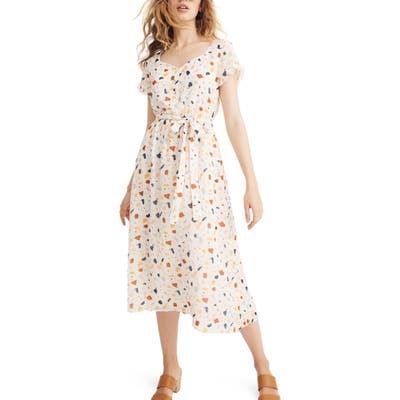 Madewell Terrazzo Tie Waist Midi Dress, Ivory