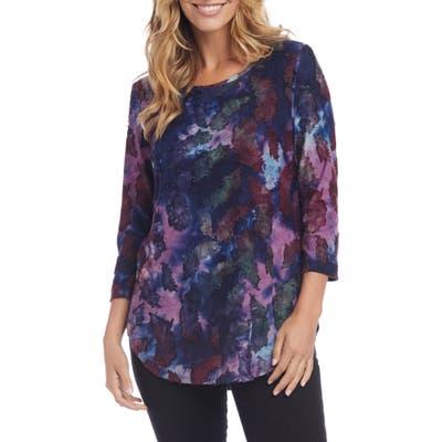 Karen Kane Feather Tie-Dye Jacquard Shirttail Tee, Purple
