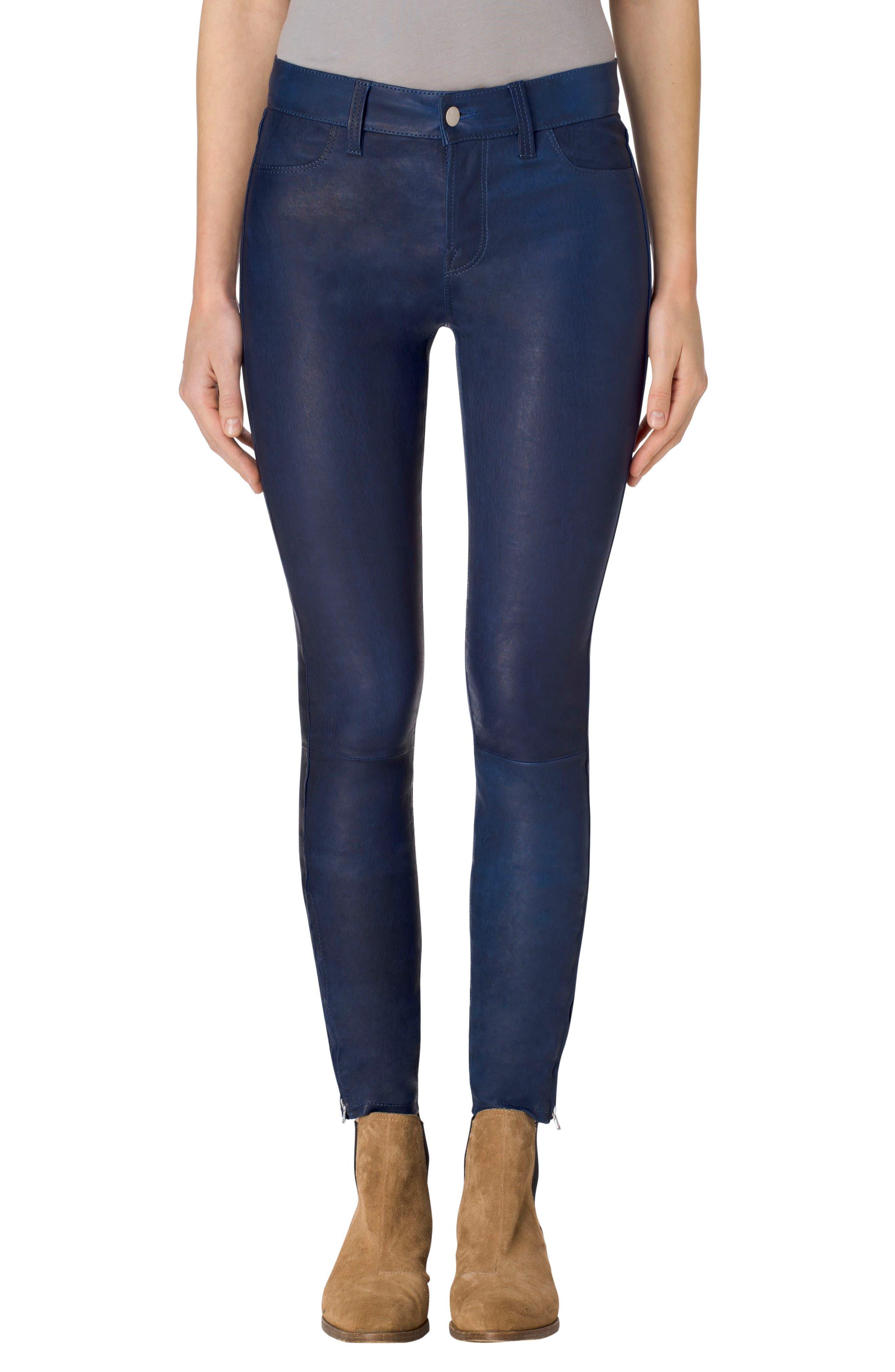 ,                             '8001' Lambskin Leather Pants,                             Main thumbnail 66, color,                             405