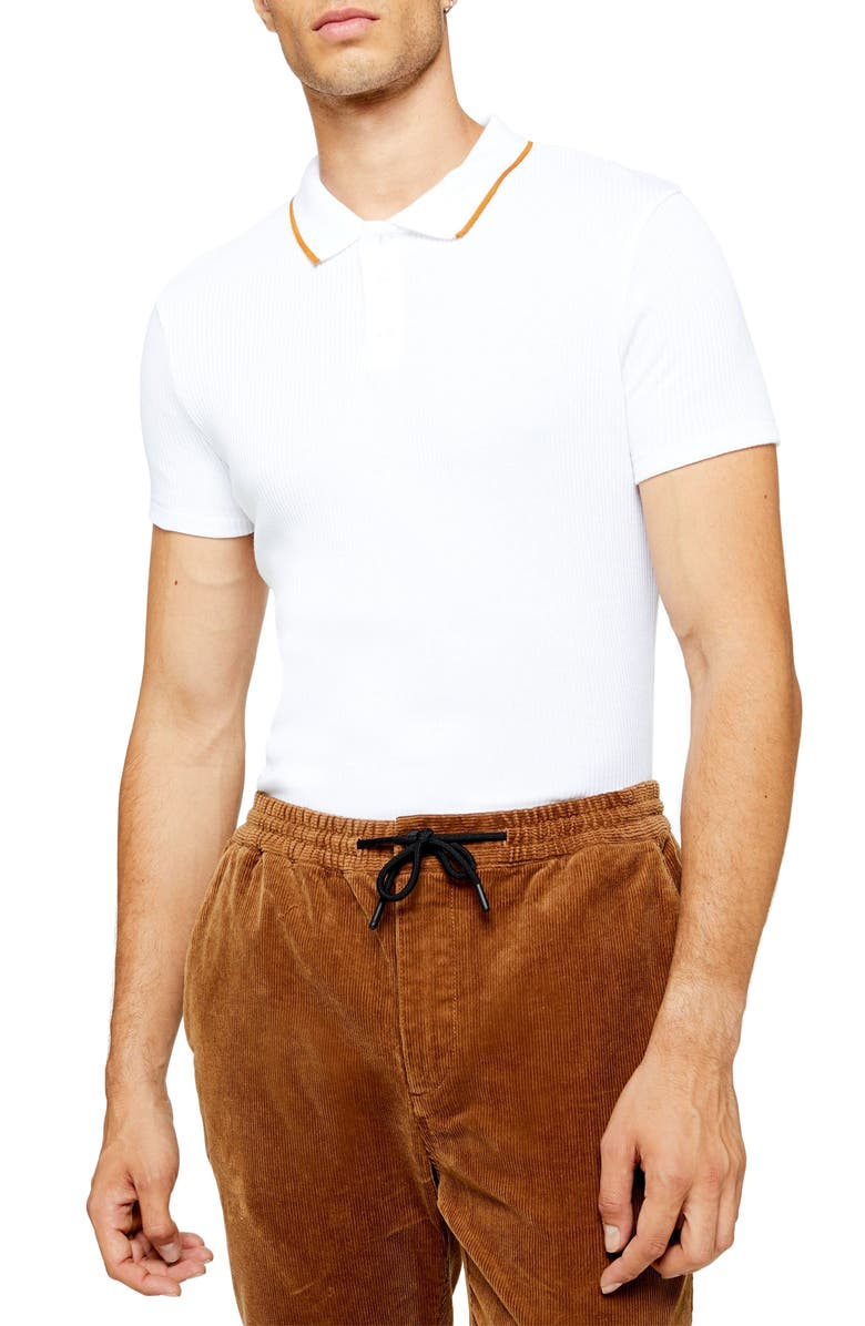 TOPMAN Snit Classic Fit Ribbed Polo, Main, color, WHITE