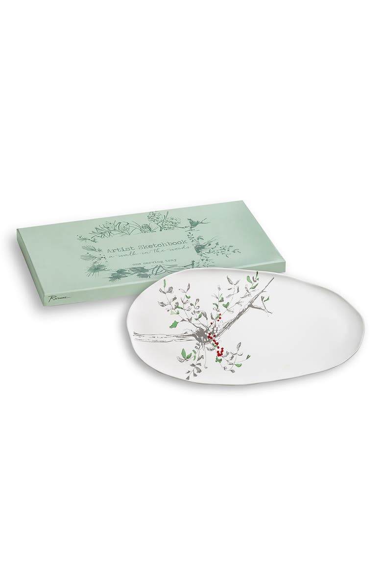 ROSANNA Holly Berries Platter, Main, color, WHITE/MULTICOLOR