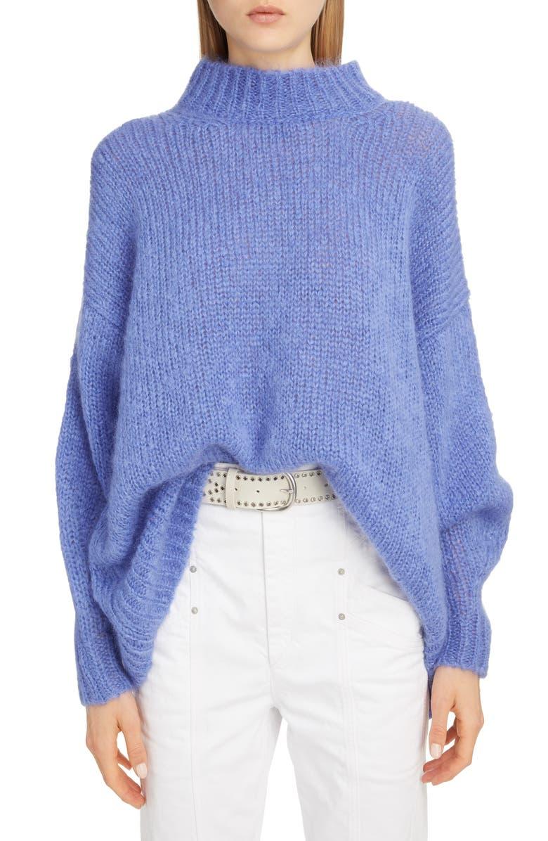 ISABEL MARANT Long Mohair Blend Sweater, Main, color, BLUE