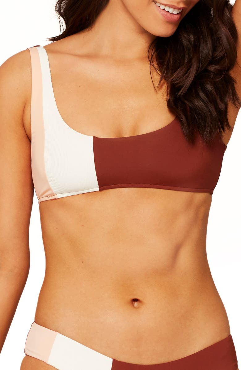 L SPACE Colorblock Bikini Top, Main, color, CREAM/ DESERT ROSE/ TOBACCO