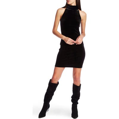 1.state Halter Neck Stretch Velvet Body-Con Minidress, Black