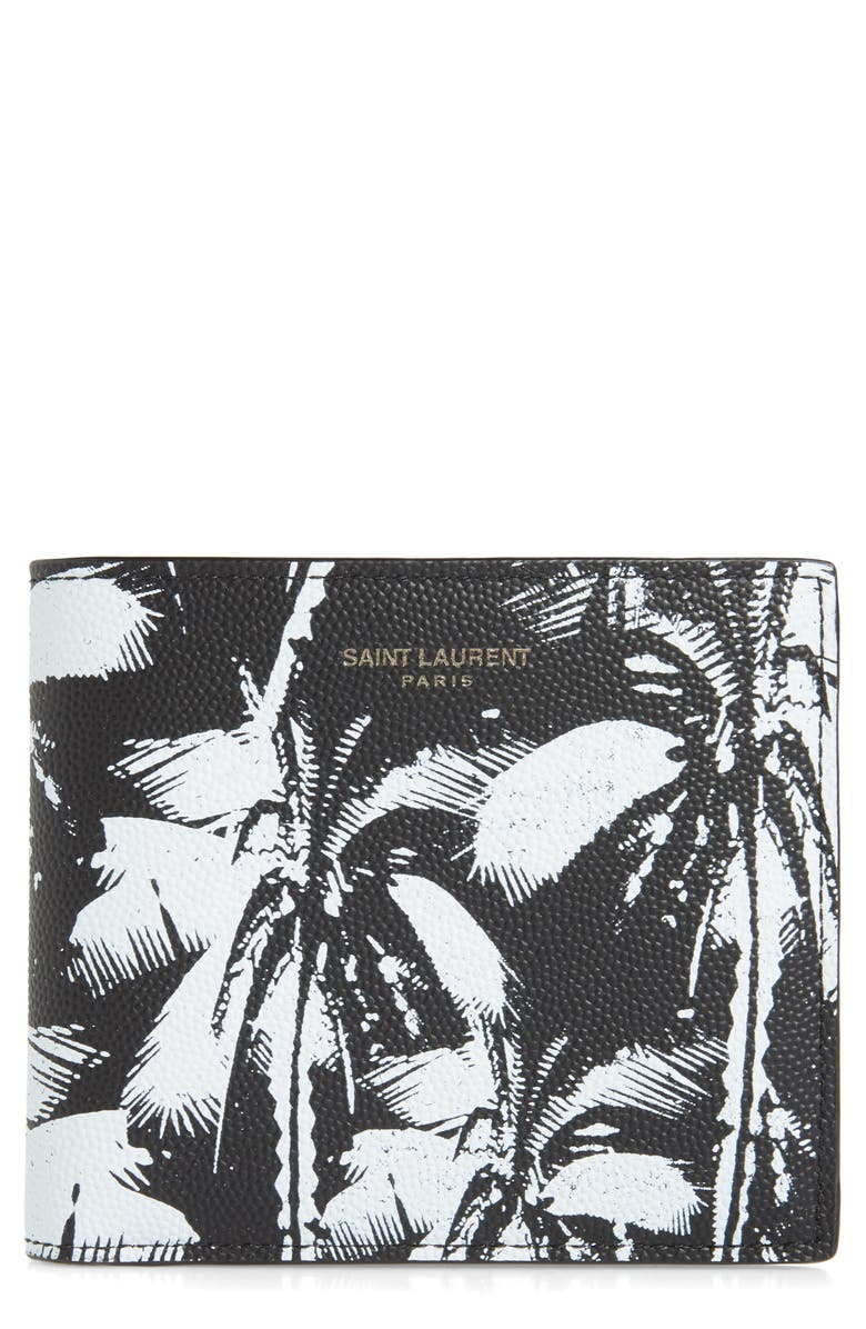SAINT LAURENT Palm Leaf Leather Wallet, Main, color, BLACK