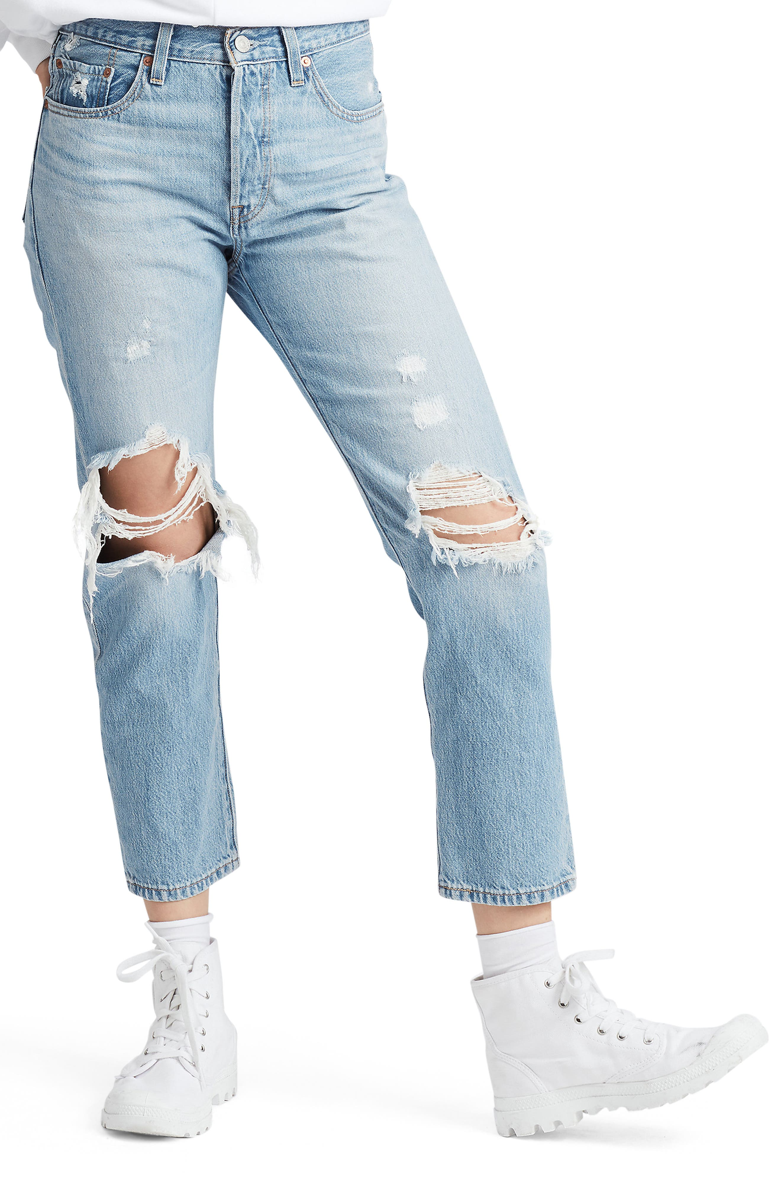 Levi's® 501® High Waist Ripped Crop Straight Leg Jeans (Montgomery Patched)