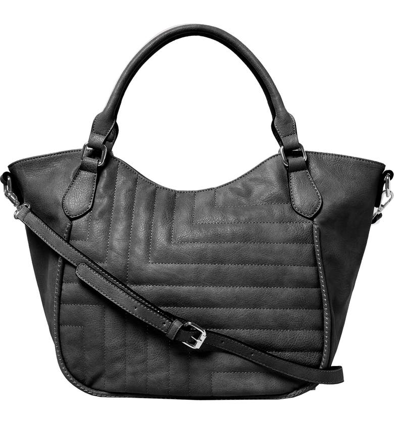 URBAN ORIGINALS Iconic Vegan Leather Tote, Main, color, BLACK