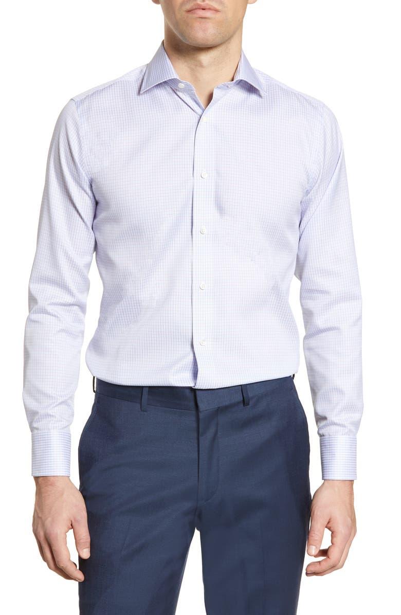 CANALI Impeccabile Regular Fit Check Dress Shirt, Main, color, BLUE