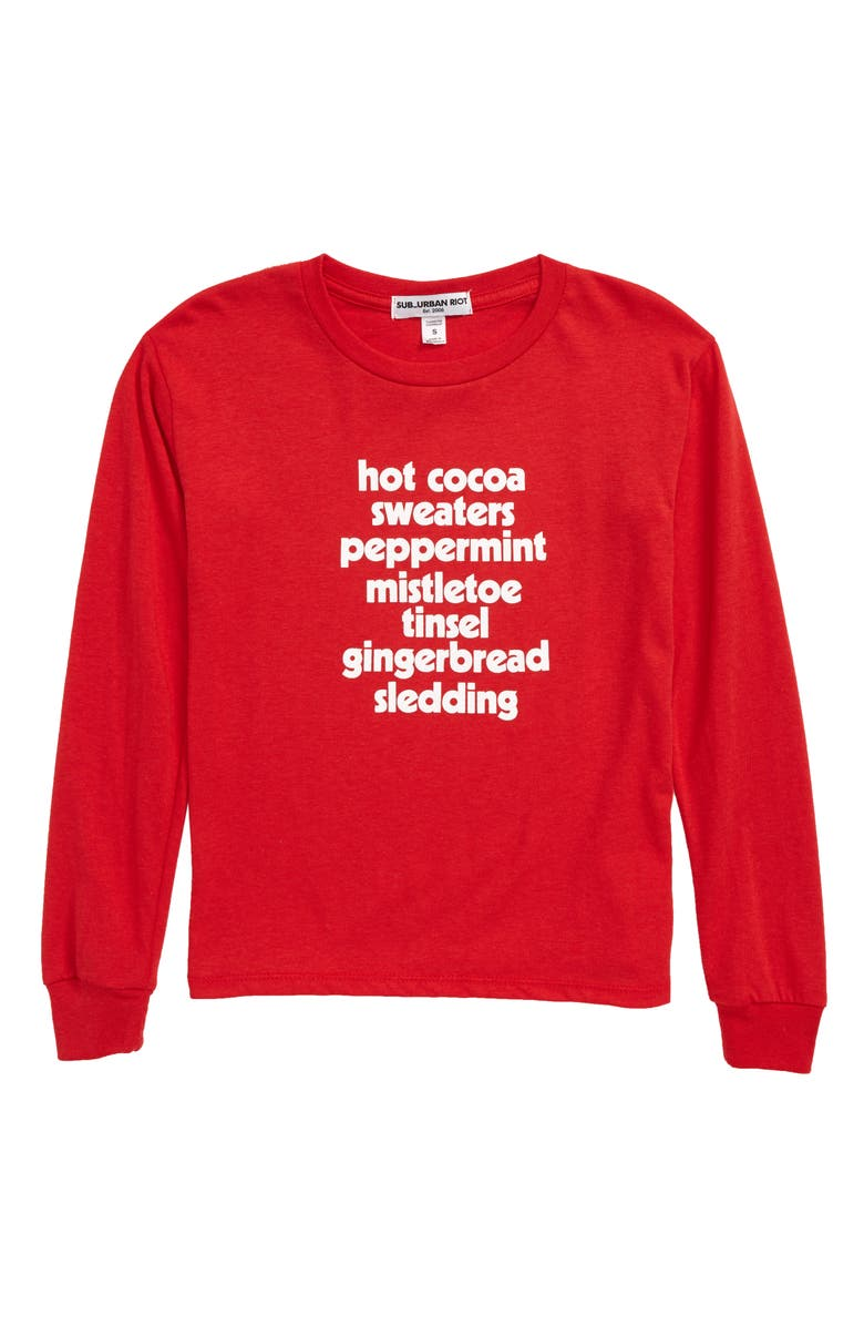 SUB_URBAN RIOT Holiday List Tee, Main, color, RED