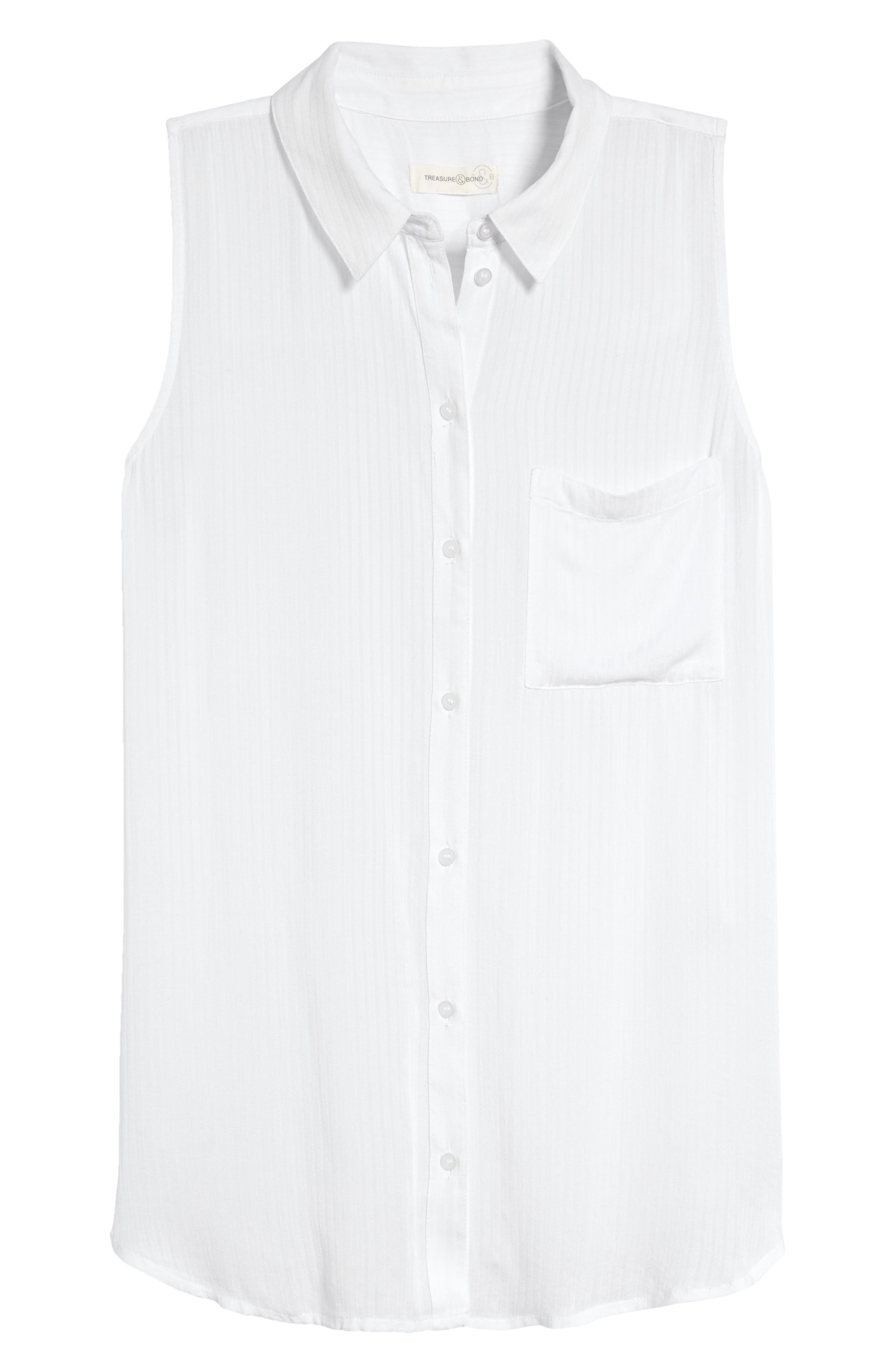 A slightly oversized fit adds relaxed appeal to a woven button-front shirt that\\\'s ready to serve as a casual style staple. When you buy Treasure & Bond, Nordstrom will donate 2.5% of net sales to organizations that work to empower youth. Style Name: Treasure & Bond Button-Up Boyfriend Tank. Style Number: 5994040. Available in stores.
