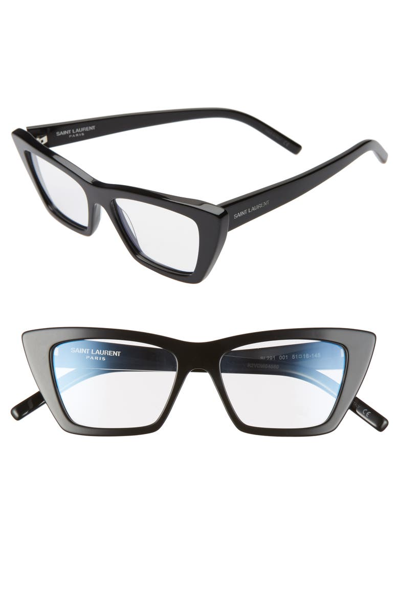 SAINT LAURENT 51mm Optical Cat Eye Glasses, Main, color, BLACK