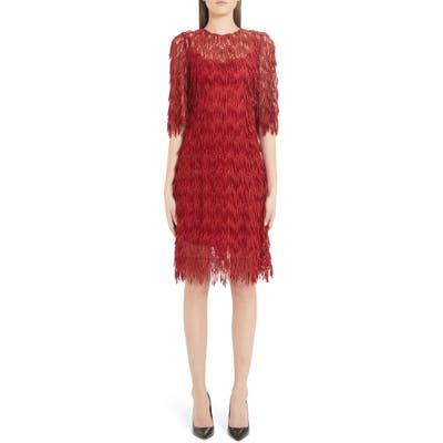 Dolce & gabbana Fringe Detail Sheath Dress, US / 42 IT - Red