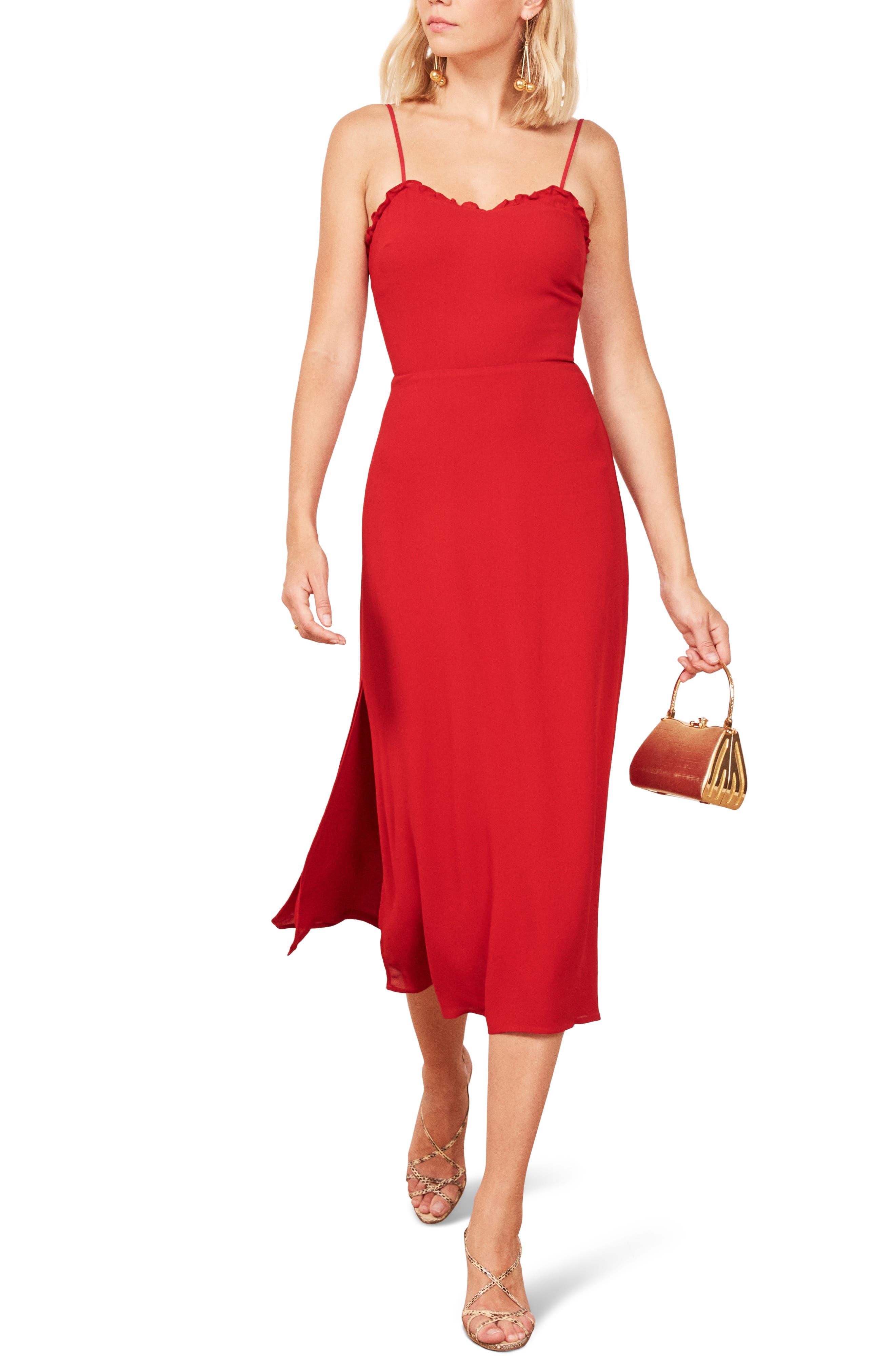Reformation Cassandra Floral Dress, Red